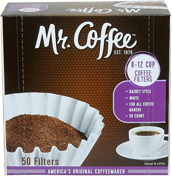 Amazon Com Mr Coffee Basket Coffee Filters 8 12 Cup White Paper 8 Inch 50 Count Boxes Pack Of 12 Packaging May Vary Health Personal Care