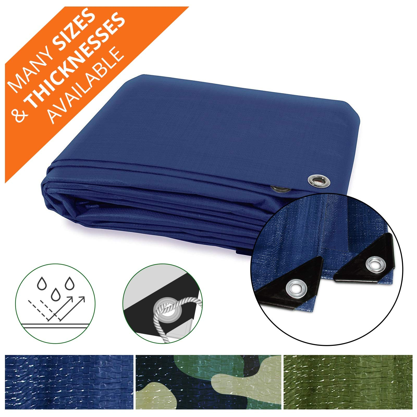 Heavy Duty Tarps   Waterproof Ground Tent Trailer Cover   Multilayered Tarpaulin in Many Sizes and Thicknesses   6 Mil - Blue - 10' x 12'