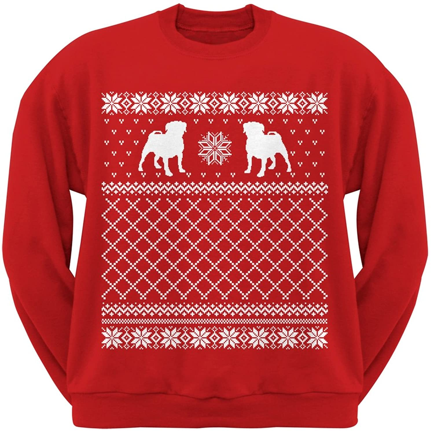 Amazon.com: Pug Ugly Christmas Sweater Red Crew Neck Sweatshirt ...