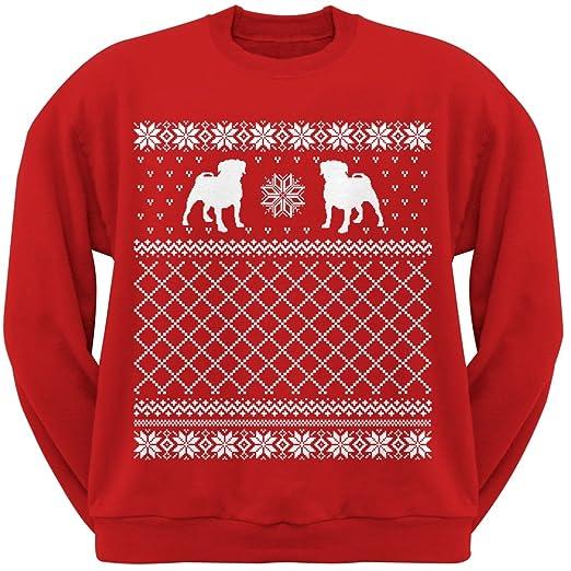 Amazon.com: Pug Ugly Christmas Sweater Red Crew Neck Sweatshirt ...