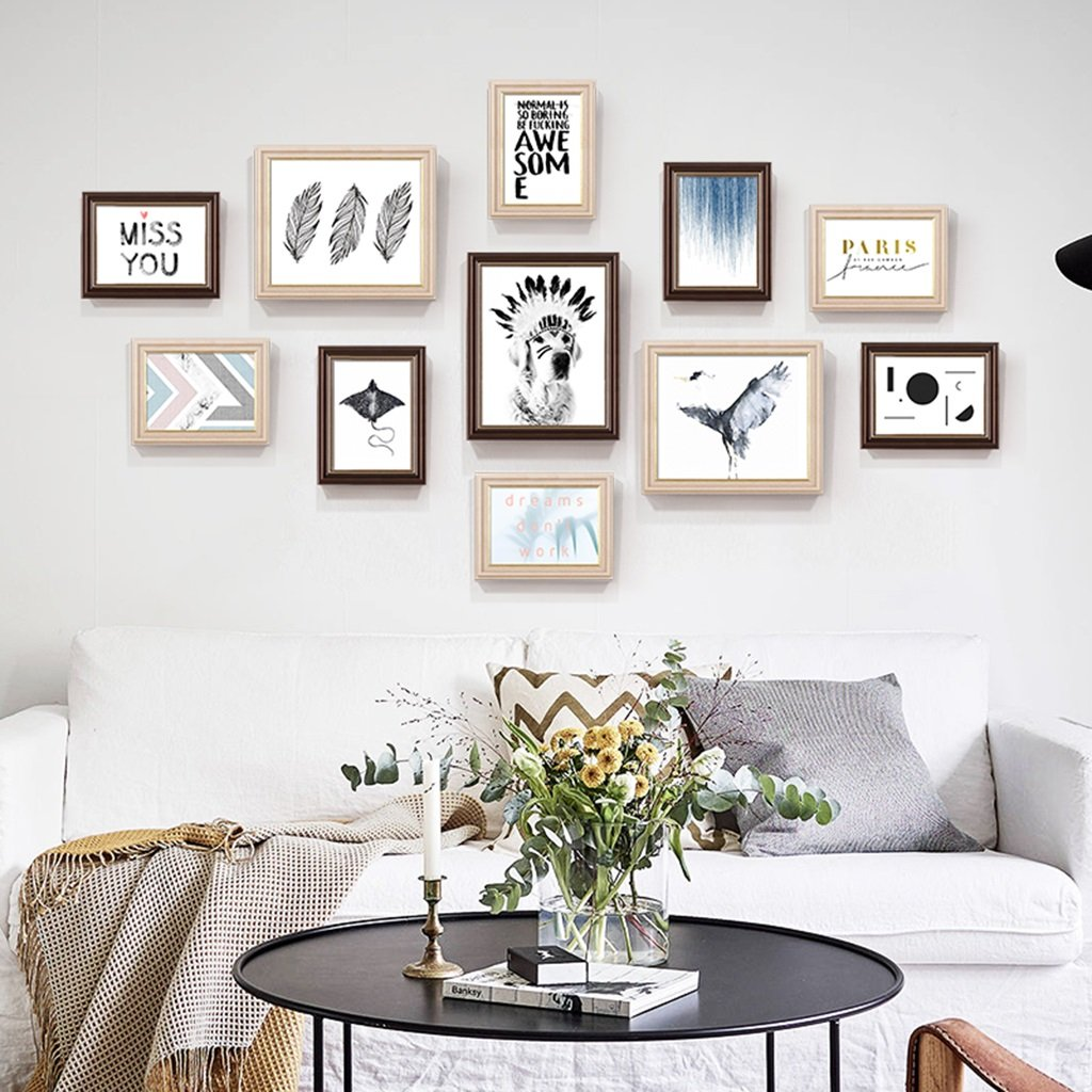 ZYANZ Photo Frame Wall Gallery Kit Includes: Hanging Wall Template,Frames,Art Painting Core(11packs)