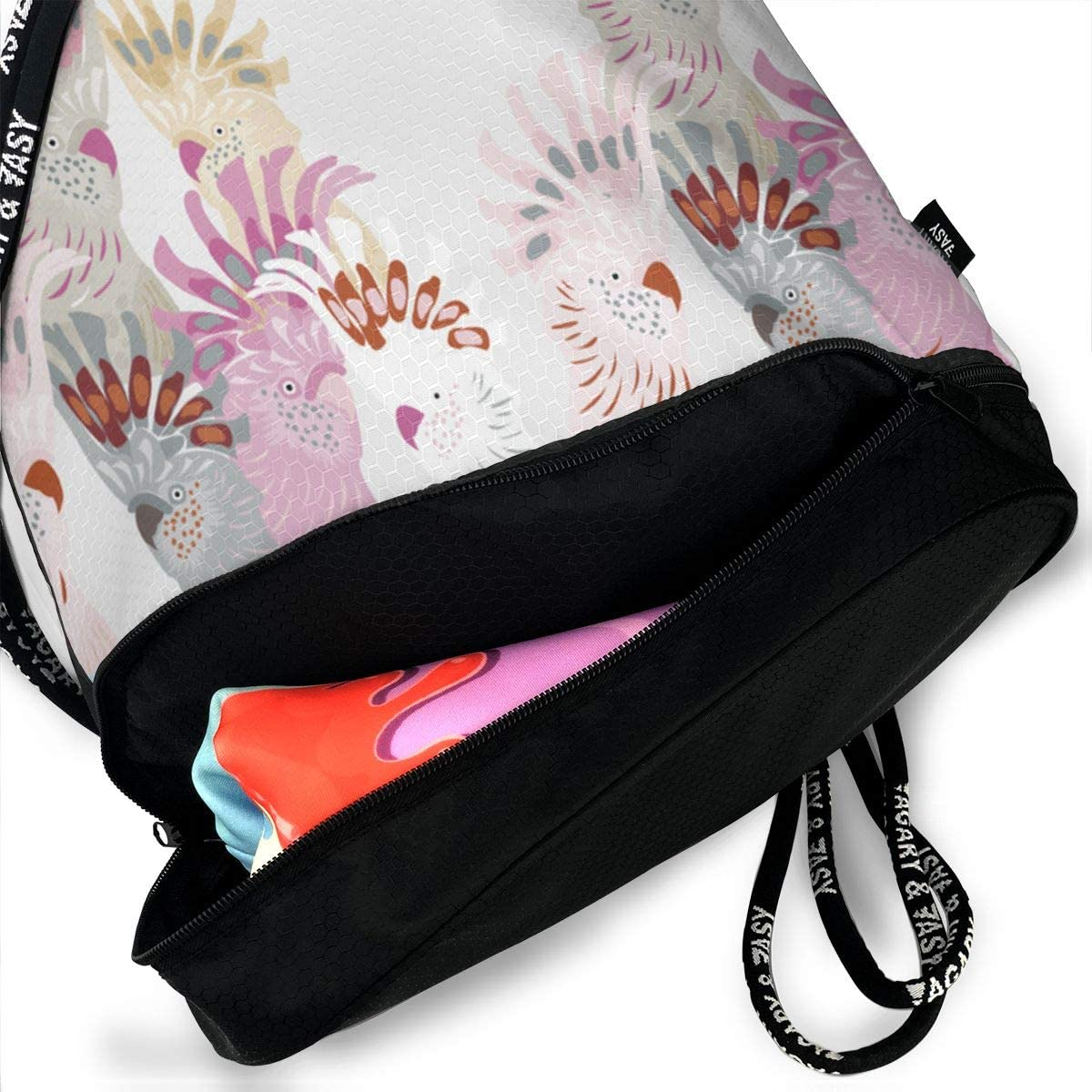 Cockatoos Drawstring Backpack Sports Athletic Gym Cinch Sack String Storage Bags for Hiking Travel Beach