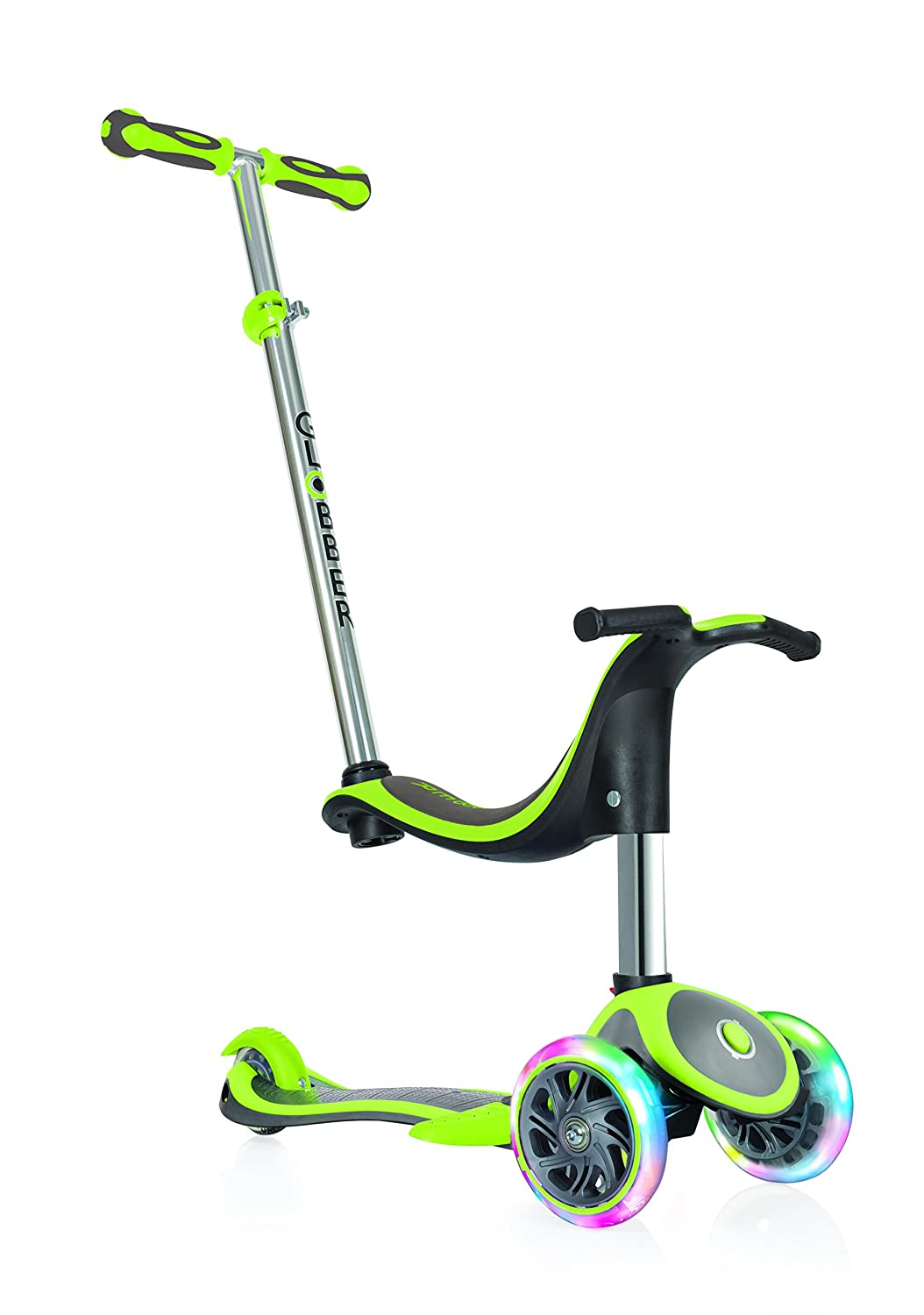 Globber Kinder EVO 4 in1 Plus mit Licht bis Rädern Scooter, Kinder, Evo 4-in-1 Plus with Light Up Wheels, lindgrün lindgrün 454-136