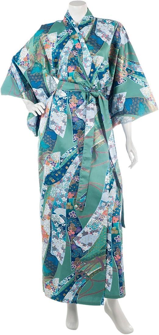 The Japanese Shop Cinta Larga de algodón japonés Yukata XL Verde: Amazon.es: Hogar