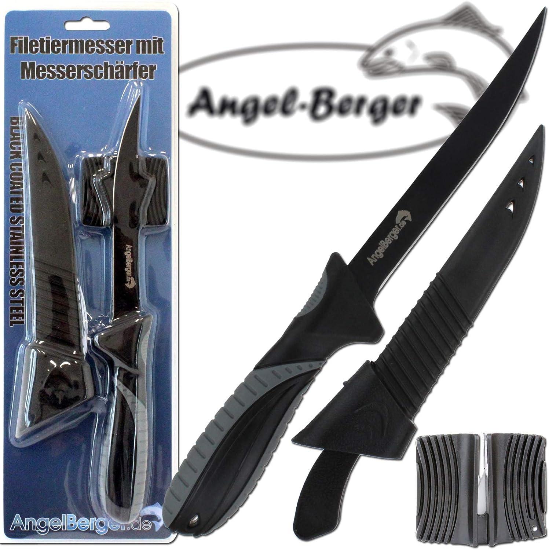 """Imax Messer 6/"""" 15,5 cm Klinge inkl Messerschärfer Angelmesser Fischmesser"""