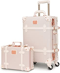 "urecity Womens Luxury Vintage Trunk Luggage Set 2 Piece Cute Retro Pink Hardside Suitcase 24"""