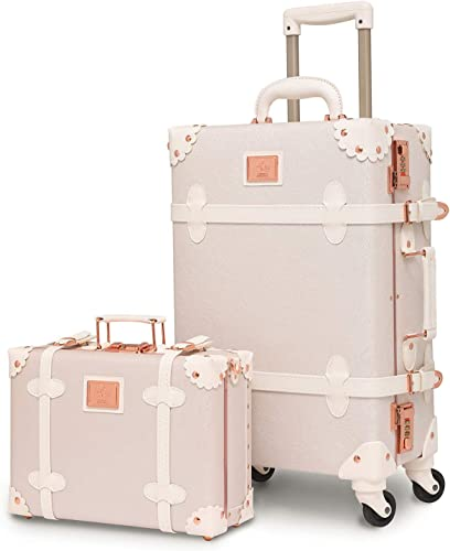 urecity Womens Luxury Vintage Trunk Luggage Set 2 Piece Cute Retro Pink Hardside Suitcase 24