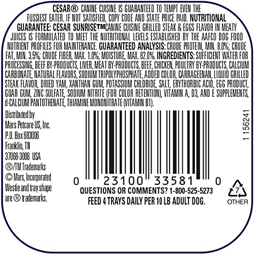 Cesar Sunrise Dog Food 4 Flavor 8 Can Bundle 2 Scrambled Egg Sausage, 2 Grilled Steak Eggs, 2 Chicken Cheddar Cheese Souffle, 2 Smoked Bacon Egg, 3.5 Oz. Ea.