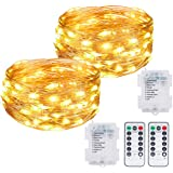 Kolpop Fairy Lights, 2 Pack 40ft 120 LED Fairy Lights with Remote 8 Modes Waterproof guirlande lumineuse Fairy Lights Battery