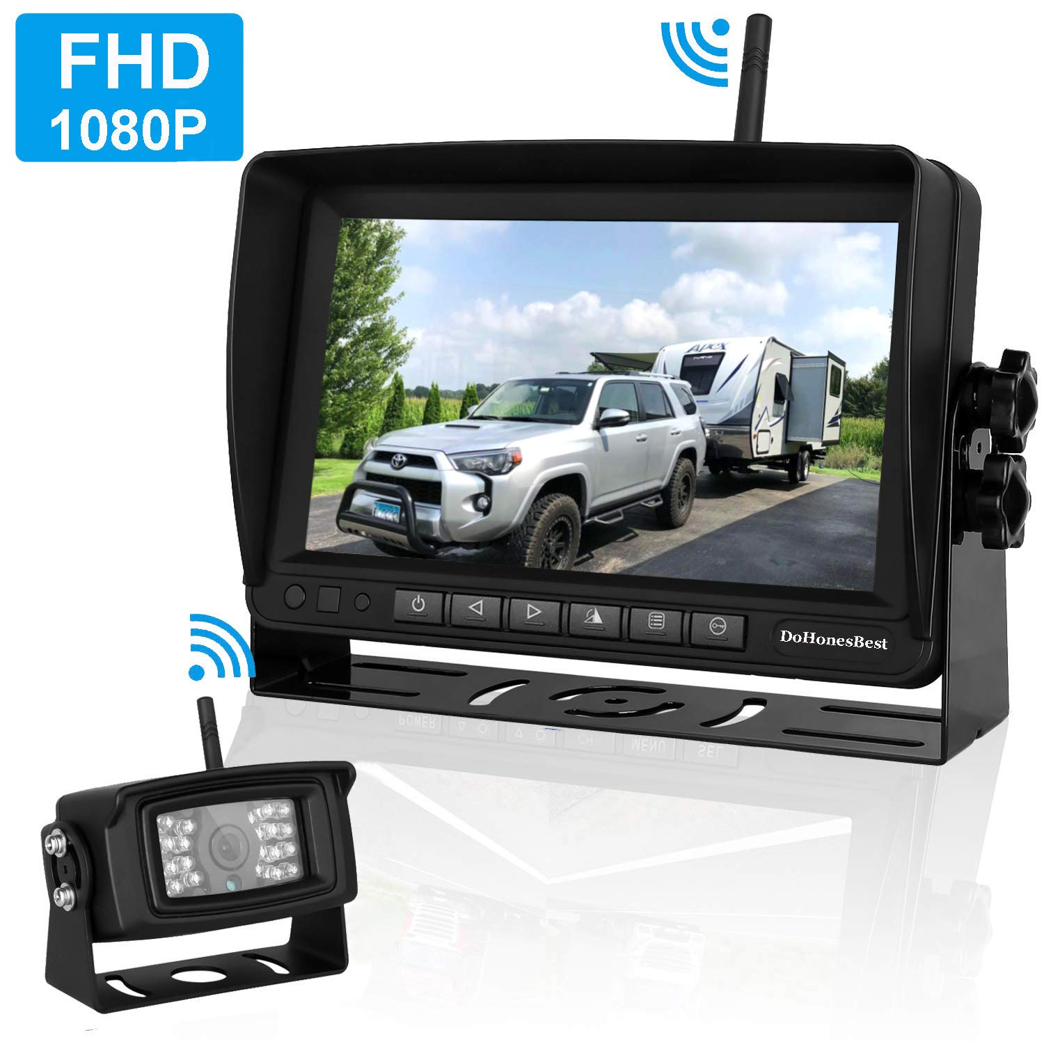 FHD 1080P Digital Wireless Backup Camera and Monitor Kit High-Speed Observation System for RVs/Motorhomes/Trucks/Trailers with 7'' Monitor Driving/Reversing Use IP69K Waterproof Super Night Vision