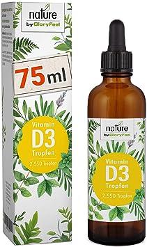 Vitamin D3 75ml - Der VERGLEICHSSIEGER 2019* - 1000 I.E. pro Tropfen - 2.550 Tropfen Hochdosiert Flüssig in MCT-Öl aus Kokos