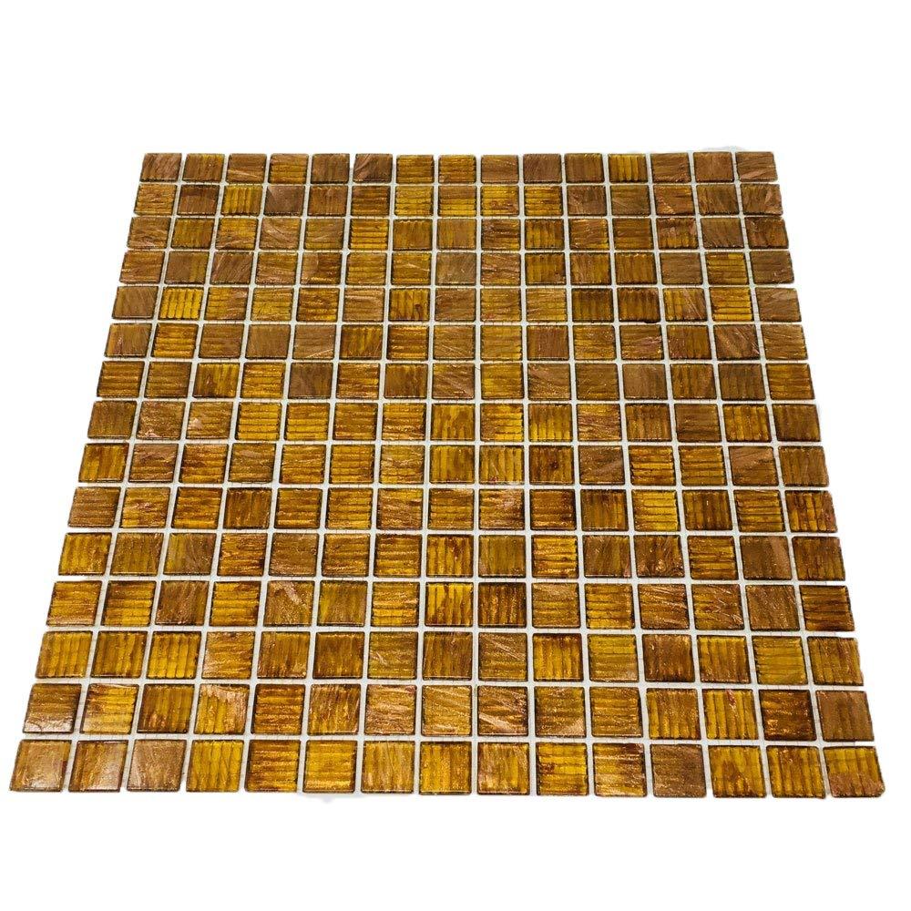 Brown Zircon Look Copper Blend Iridescent Glass Backsplash Mesh-Mounted 3/4 x 3/4'' Mosaic Tiles for Kitchen Backsplash Bathroom Wall Mosaics (10 Sheets)