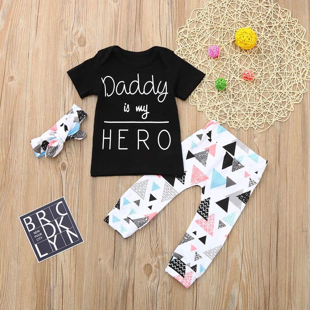 6-24 Monate Haarband 3 St/ücke Outfits Webla Neugeborenen Kinder Daddy is my HERO Baby Brief Drucken Kurzarm Pullover T-shirt Tops Geometrischer Drucken Hosen