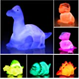 Jomyfant Dinosaur Bath Toys Light Up Floating Rubber Toys(6 Packs),Flashing Color Changing Light in Water,Baby Infants Kids T