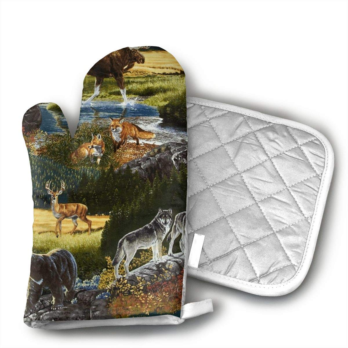 Mountain Wildlife Nature Bear Moose Oven Mitts and Pot Holders Kitchen Mitten Cooking Gloves,Cooking, Baking, BBQ.