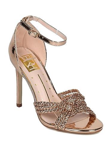 053fd14c7d8192 Alrisco Women Metallic Leatherette Braid and Knot Stiletto Sandal HD50 -  Rose Gold Metallic (Size