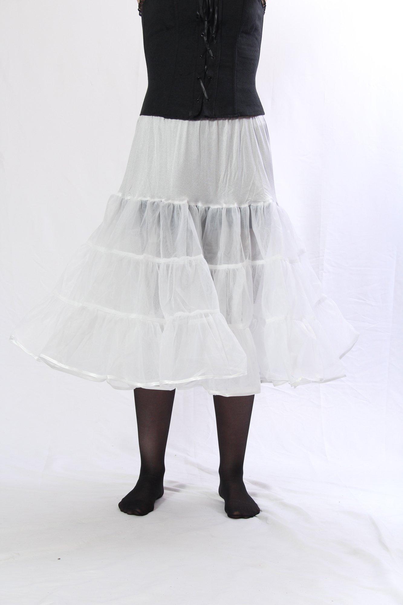 Petticoat Crinoline. Great petticoat skirt for poodle skirts, Petticoat dresses, Vintage dresses, or as Rockabilly Adult Tutu Skirt. 25'' length; Tulle fabric - White Petticoat  L/XL