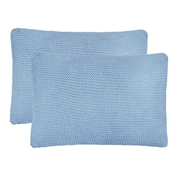 ROMELAREU Cojines de Punto Grueso 2 Unidades 60x40 cm Azul ...