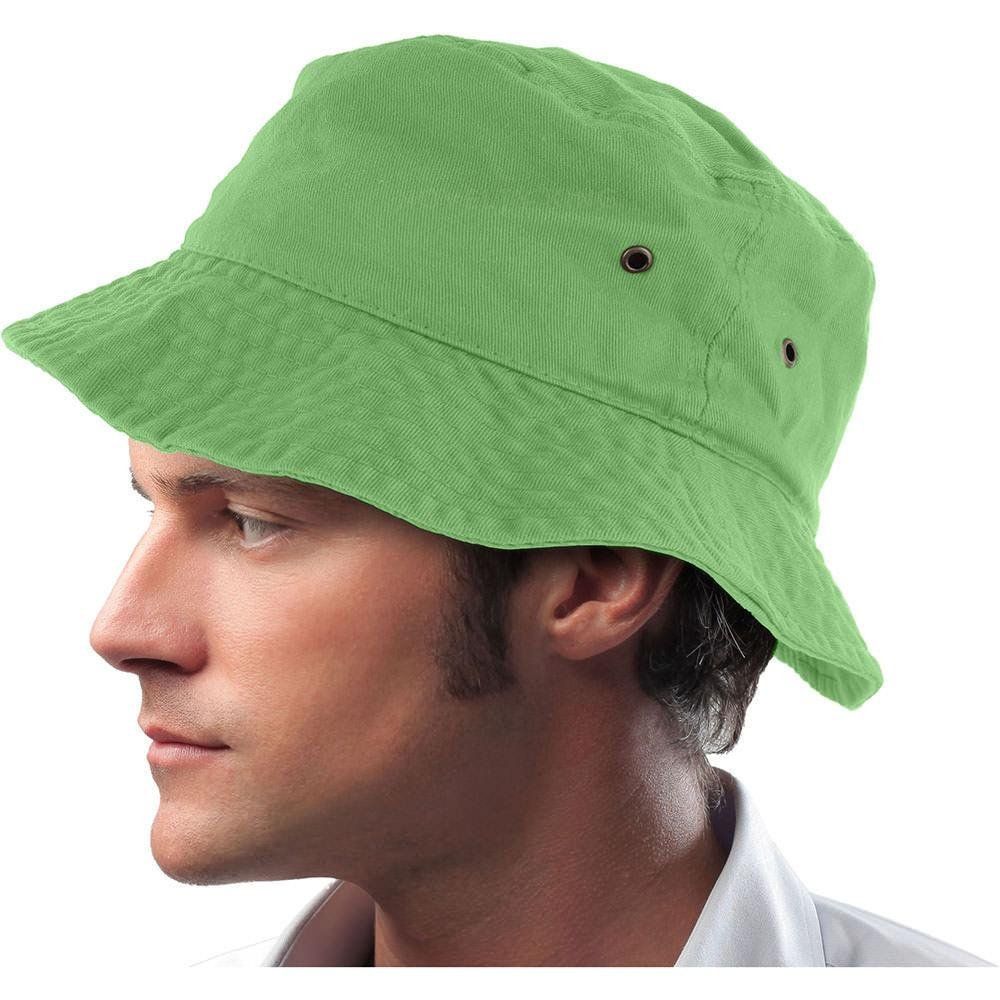 Easy-W Lime Green 100% Cotton Hat Cap Bucket Boonie Unisex by Easy-W (Image #1)