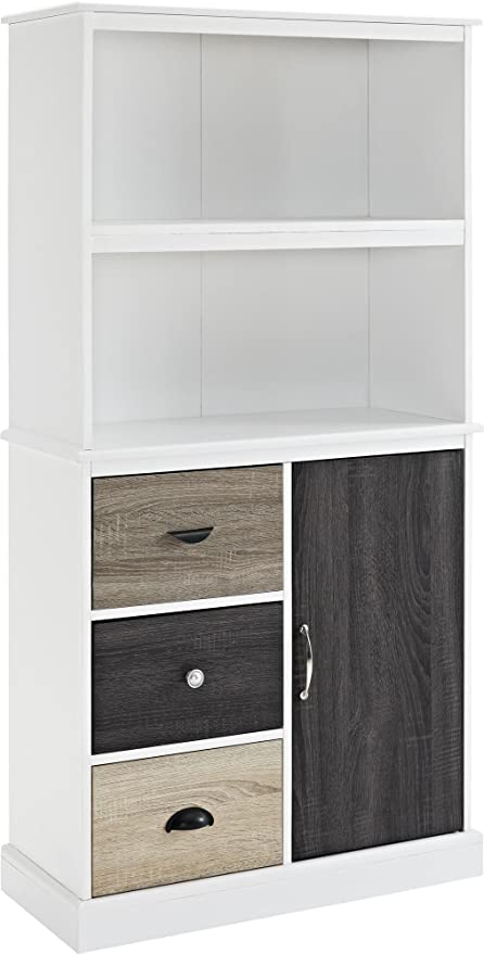 Ameriwood Home 9634096 Mercer Storage Bookcase With Multicolored Door And Drawer  Fronts, White
