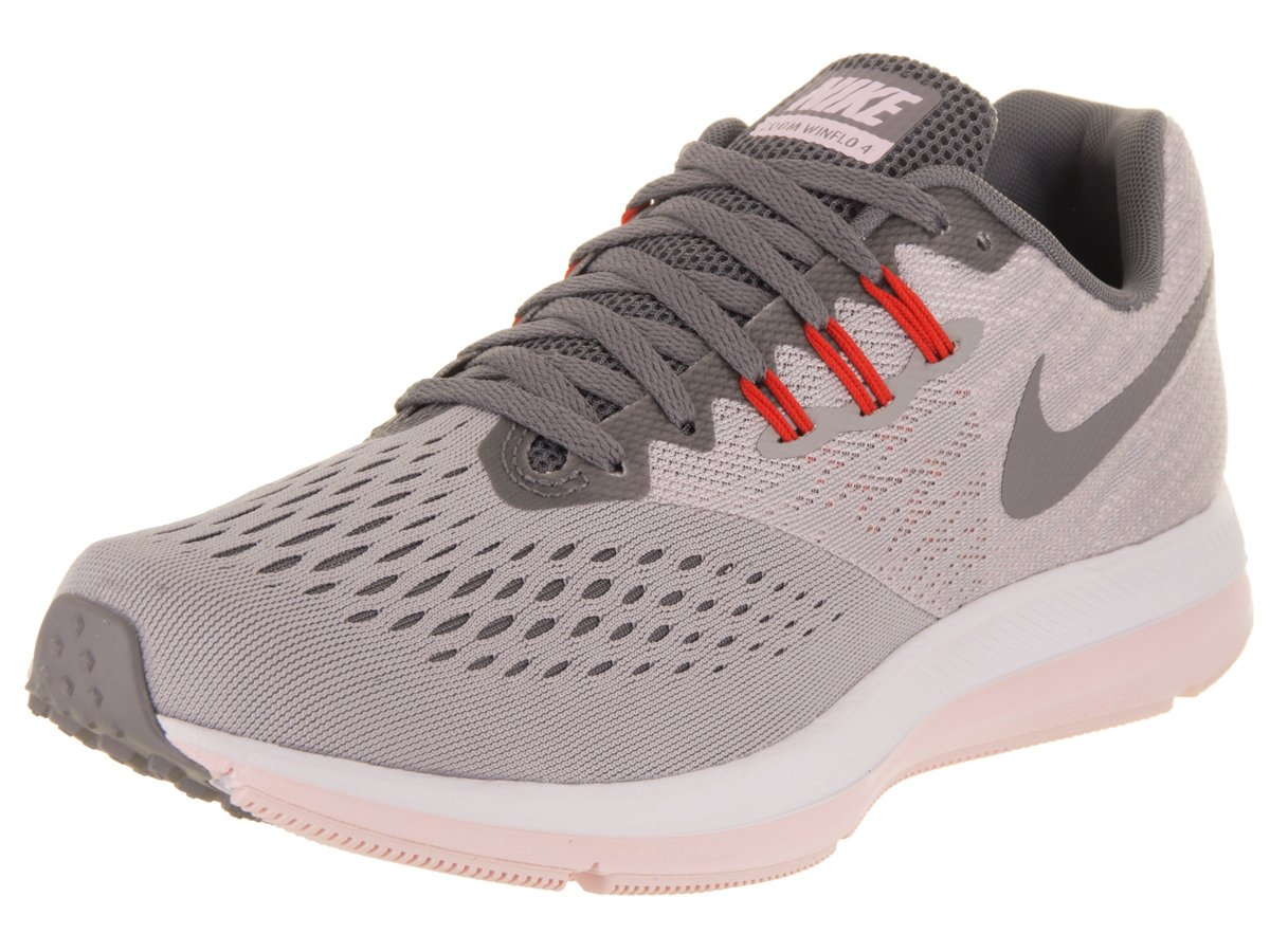 NIKE Women's Air Zoom Winflo 4 Running Shoes (8.5, Grey/Pink-M)