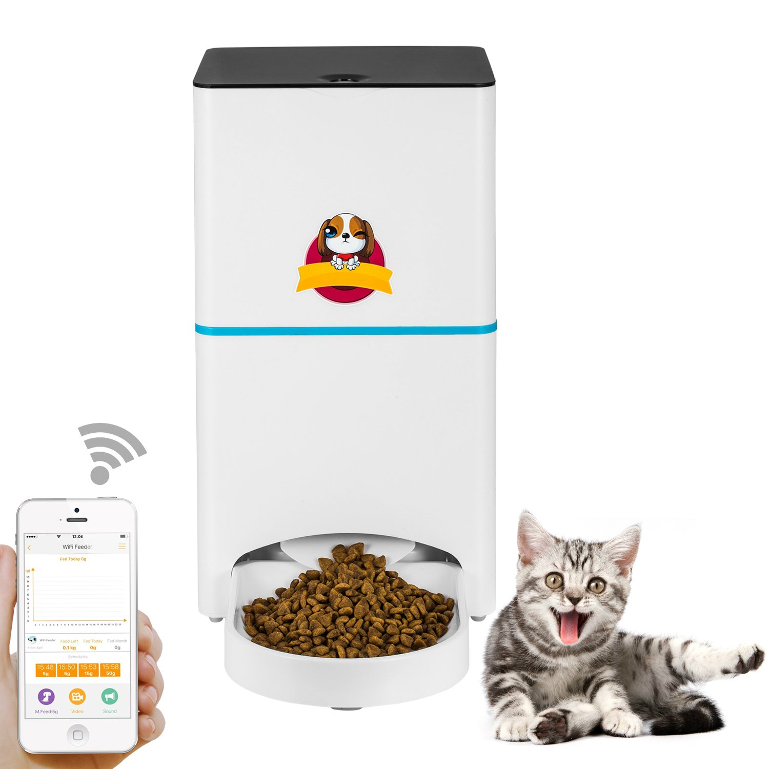 Abdtech Automatic Cat/Dog Feeder-2.4G Wifi Smart Pet Feeder Comes With An App To Control Feeding -1.2 Gallon Kibbles Hopper With Built-in Conveyor System-Automatically Provide Fresh And Healthy Meals