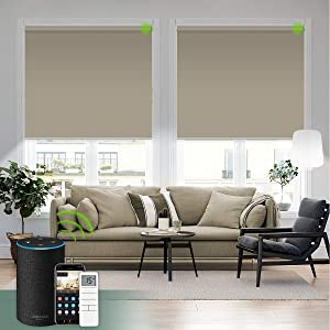 Yoolax Motorized Blind for Window with Remote Control Smart Blind Shade Compatible with Alexa Motorized Roller Shade Blackout Battery Solar Powered Blind Custom up 98''W X 138''H (Vinyl-Light Coffee)