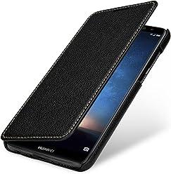 StilGut Book Type Case, custodia per Huawei Mate 10 Lite a libro booklet custodia orizzontale, cover apertura laterale in vera pelle, Nero