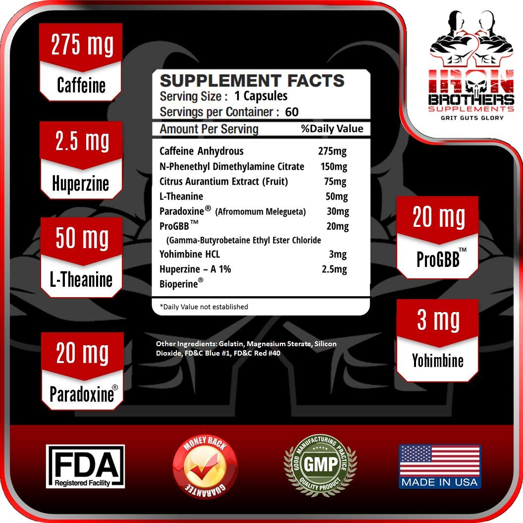 Thermogenic Fat Burners for Men/Women - Hardcore Weight Loss Pills - Appetite Suppressant- Premium Metabolism/Energy Booster - 60 Gel Capsules - Keto Friendly - Iron Brothers Thermo Burn by Iron Brothers Supplements (Image #3)