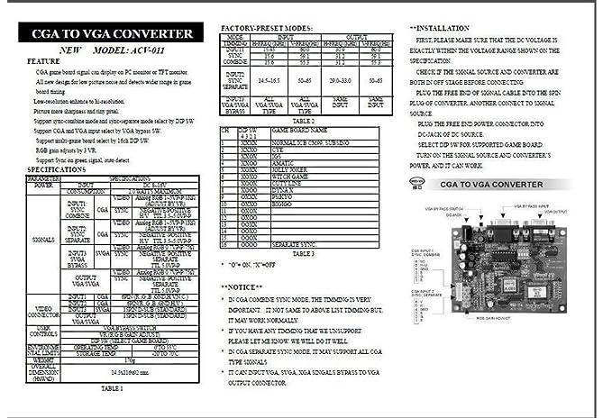Amazon Wei Ya Acv 011 Cga To Vga Video Converter Jamma Arcade