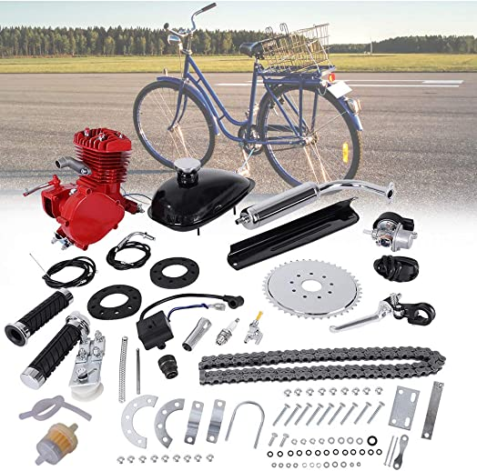 Sihand 80CC Bicycle Engine Kit, Motorized Bike 2-Stroke, Petrol Gas Engine Kit, Super Fuel-efficient for 24 ,26 and 28 Bikes Red