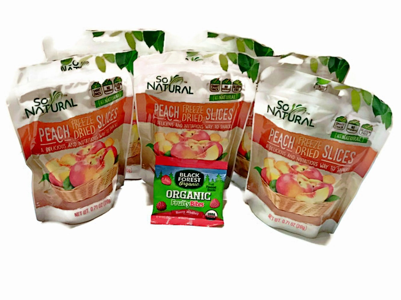 So Natural Freeze Dried Peaches 6 packages INCLUDES Organic Fruity Bites by So Natural