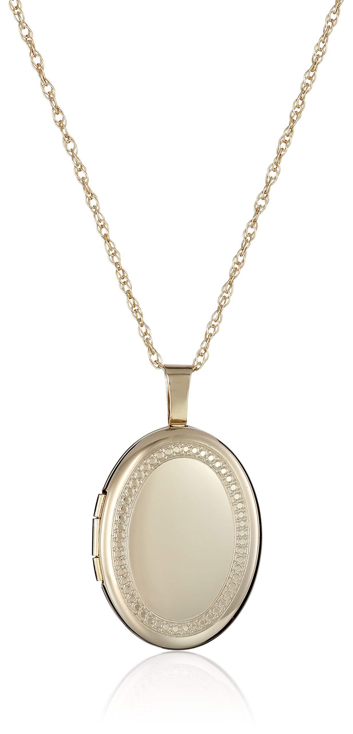 14k Gold-Filled Oval Milgrain Edge Locket Necklace, 18''