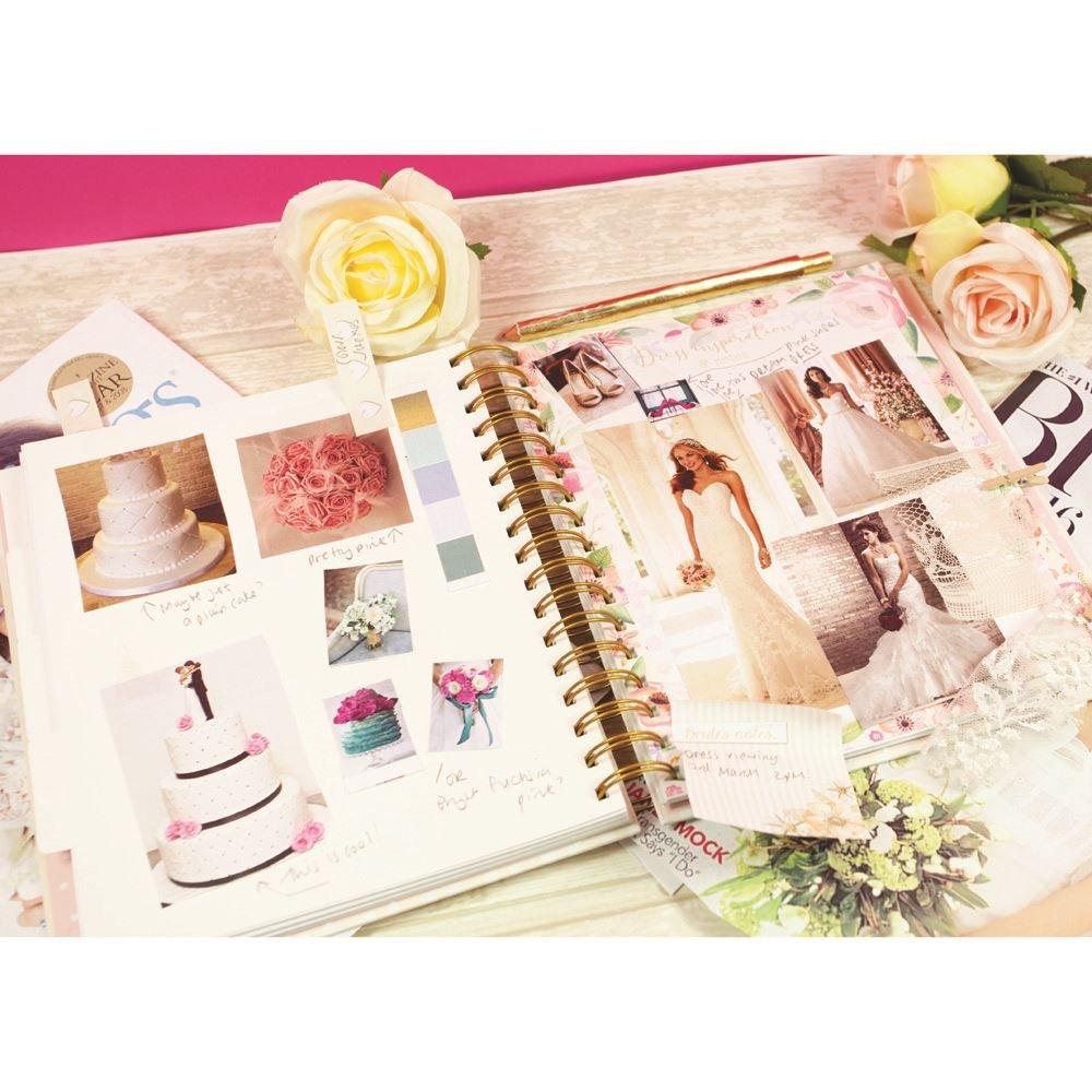 Agenda Organizadora De Bodas - Floral - Perfecto COMPROMISO CON secciones, Checklists y bolsillos para organizar un Boda