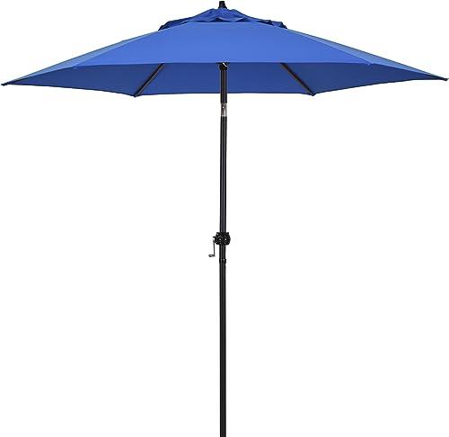 Astella 9 Rd Crank Open Tilting Market Umbrella, Pacific Blue