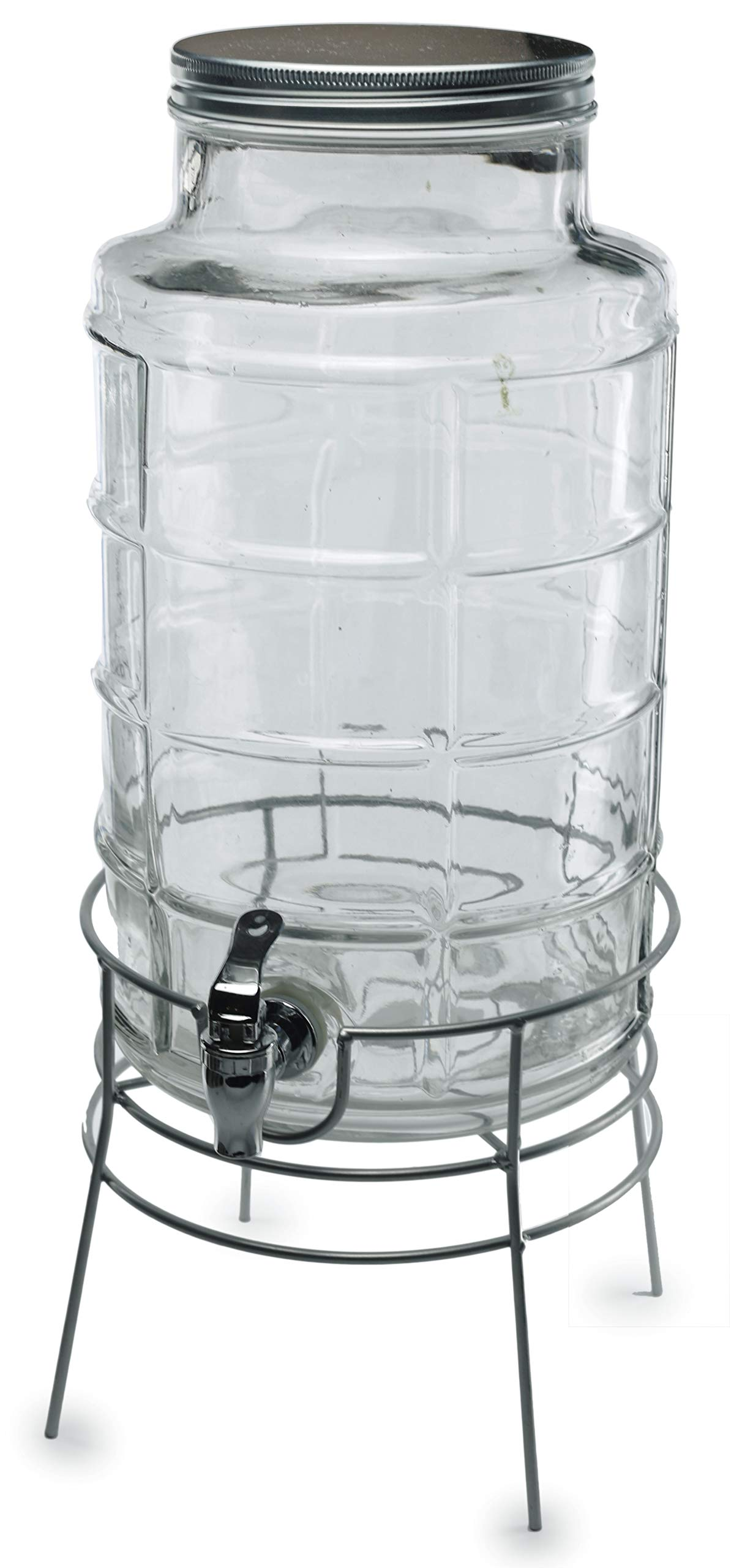Circleware Newton Creek Glass Beverage Dispenser with Metal Stand and Lid, Entertainment Kitchen Glassware Drink Pitcher for Water, Juice, Wine, Kombucha & Cold Drinks, Huge 2.2 Gallon, Clear by Circleware (Image #4)