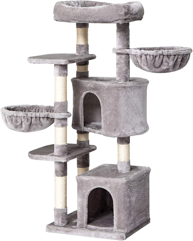 "IBUYKE 53"" Cat Tree Tower Play Furniture Cat Condo with Sisal Scratching Posts, Luxury Large Platform, Cozy Cat Houses&Basket, Smoke Gray, Light Gray UCT011"