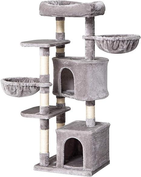 IBUYKE Árbol para Gato 135cm Torre de Escalada de Varios Niveles con Plataformas, 2 Cesta Flotante, 2 Caseta para Gatos, Columnas Recubiertas de Sisal ...