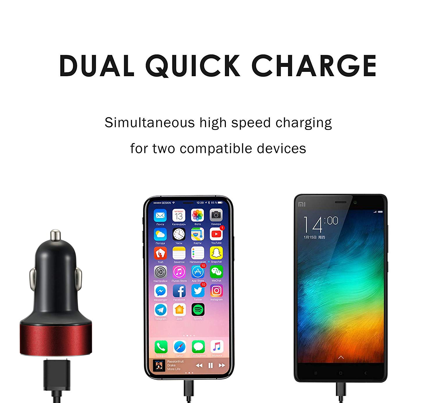 Samsung Galaxy Note8//S8//S8+ and More Silver PGWHITC Car Charger MOLJILA 4.8A 24W Dual USB Fast Car Charger with Smart Identification for iPhone X//8//7//Plus iPad Pro//Air 2//Mini