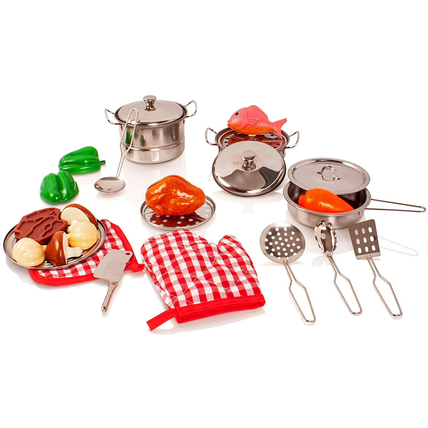 Milly & Ted 23 Piece Childrens Kitchen Pan, Utensil & Play Food Set - Kids Roleplay Pretend Toy 891111