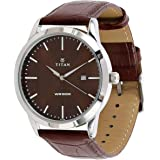 Titan Neo Men's Brown Dial Leather Band Watch - T1584SL04