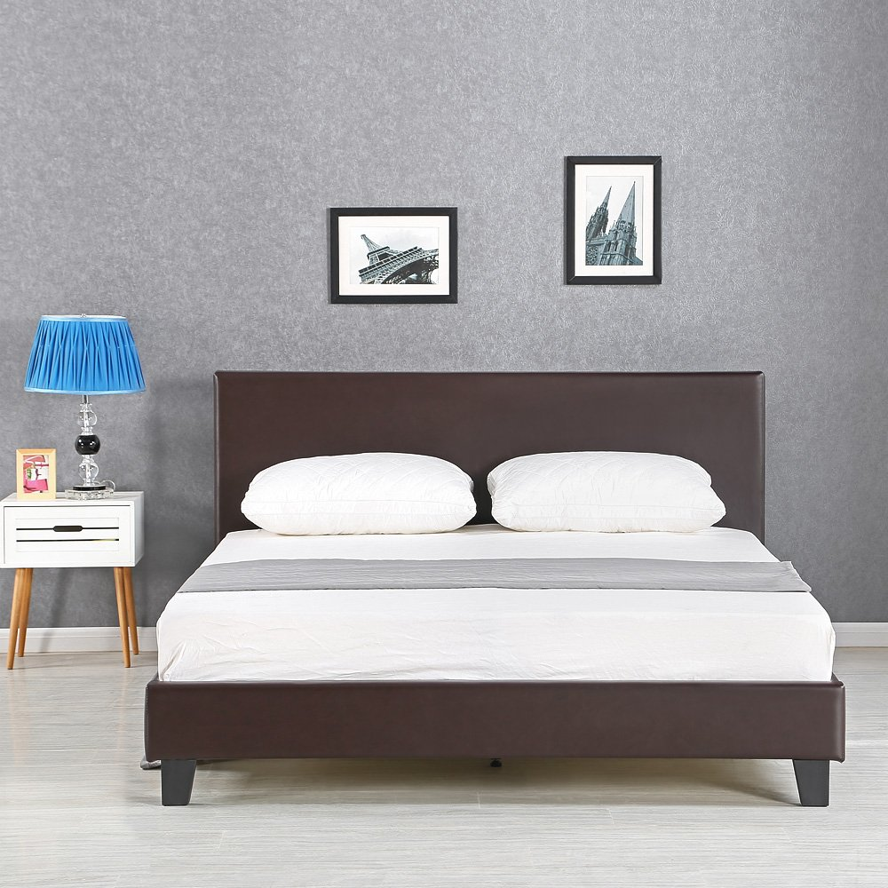 iKayaa LBD6505 – Bettgestell aus Stahl und Pappelholz ...
