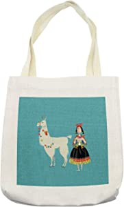 """Ambesonne Llama Tote Bag, Peruvian Woman Knitting with a White Alpaca Wrapped with Flower Colorful Illustration, Cloth Linen Reusable Bag for Shopping Books Beach and More, 16.5"""" X 14"""", Cream"""