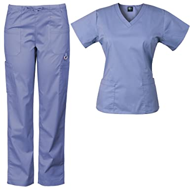 63141a67181 Amazon.com: Medgear Women's Solid Scrubs Set Eversoft 2-Way Stretch Fabric  7895ST: Clothing