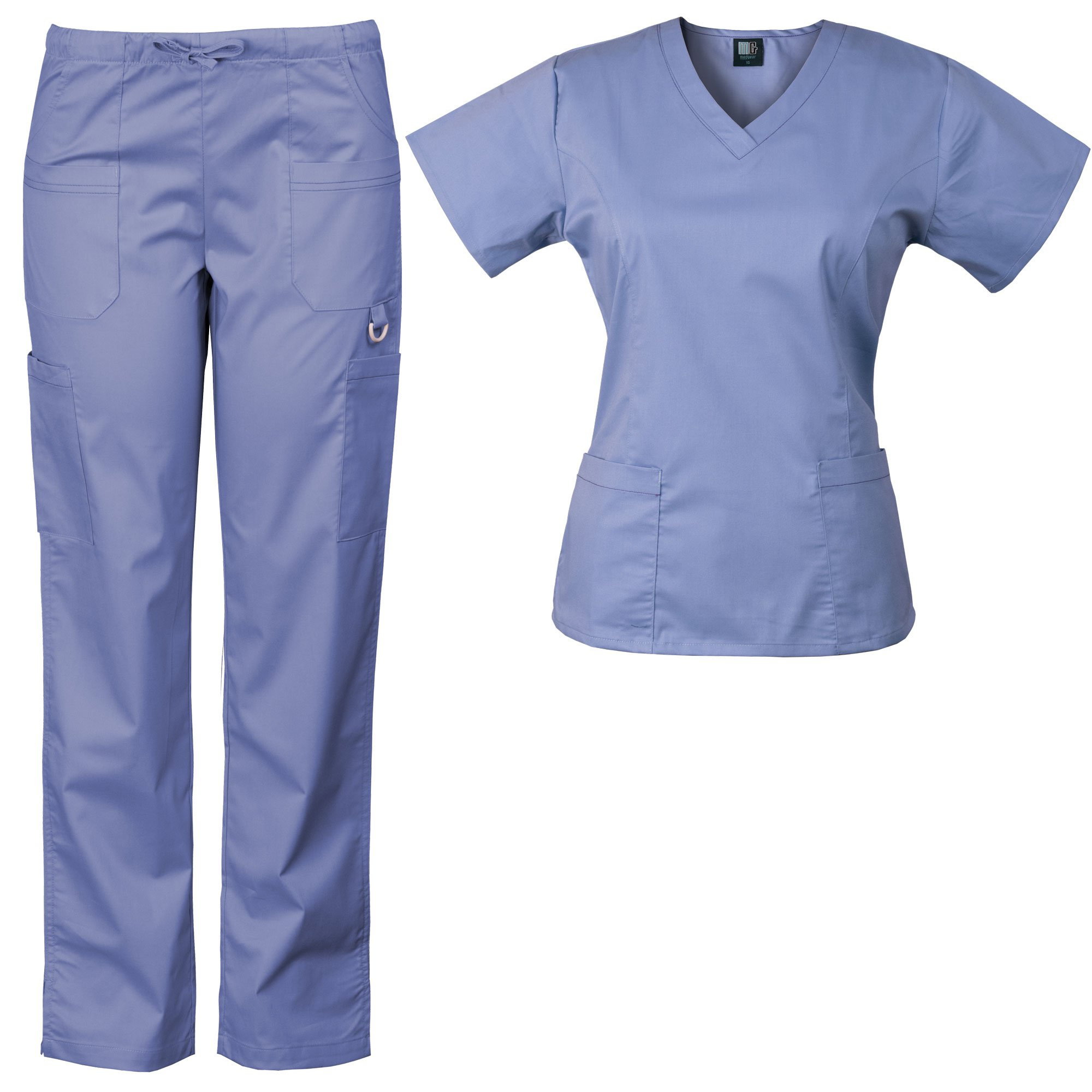 Medgear Women's Solid Scrubs Set Eversoft 2-Way Stretch Fabric 7895ST (L, Ceil)