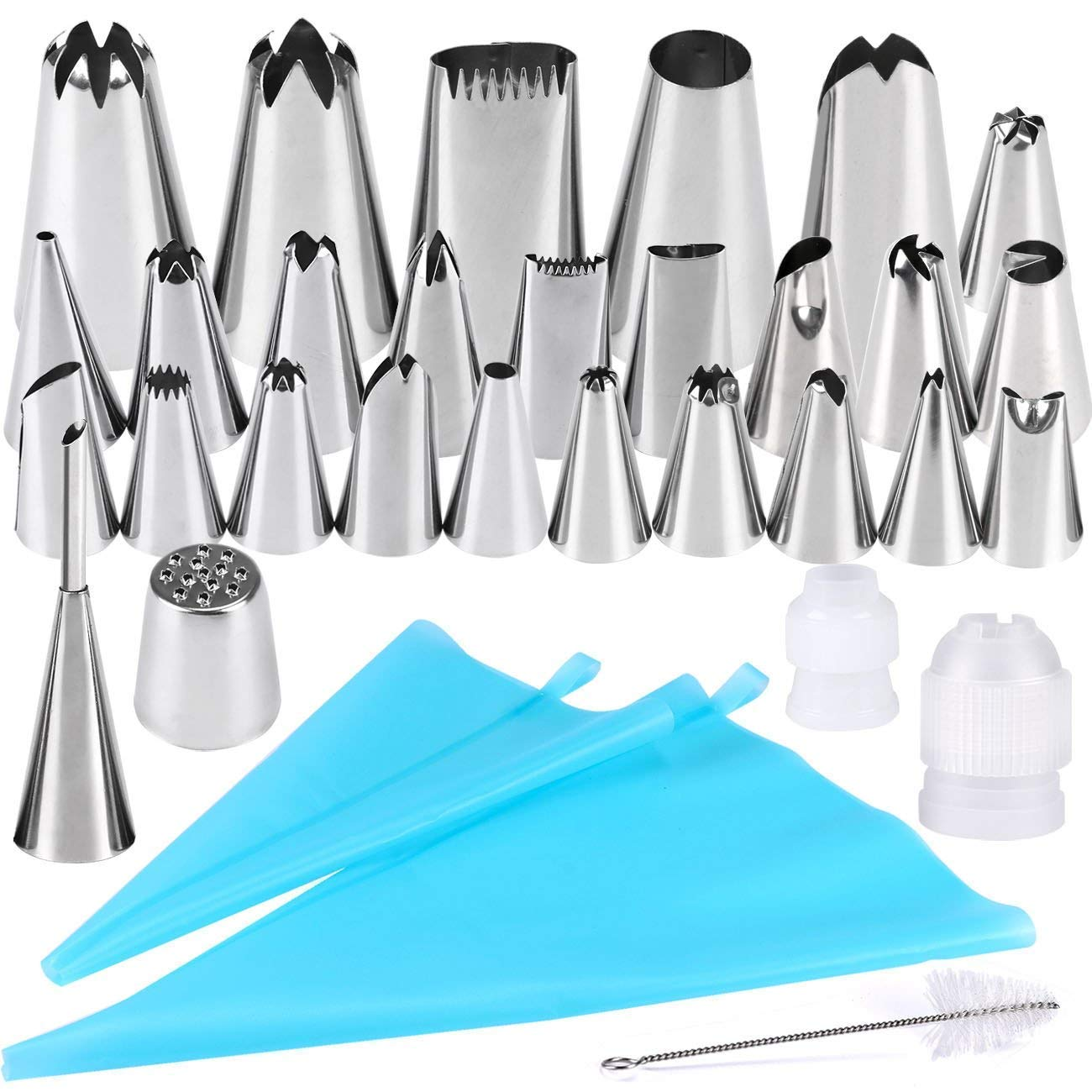 Cake Decorating Set, Gyvazla 32pcs Icing Piping Tips Set, Including 20 Small Piping Tips/ 5 Large Tips/ 1 grass Tip/ 1 Puffs Tip/ 2 Couplers/ 1 Clean Brush/ 2 Recyclable Piping Bags