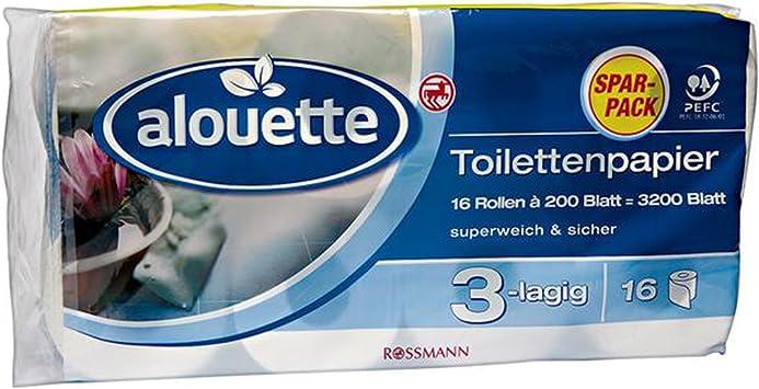 Alouette Toilettenpapier Sparpack 3200 Blatt 16 Rollen A 200 Blatt 3 Lagig Superweich Sicher Chlorfrei Gebleicht Amazon De Drogerie Korperpflege