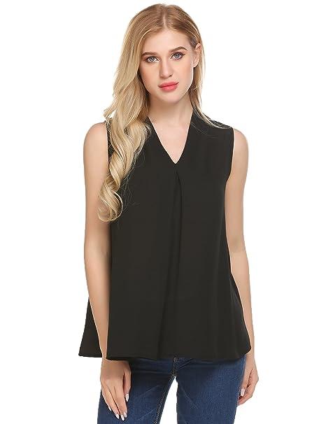 9be940d2c Jingjing1 Women's Sleeveless Chiffon Tank Top Swing Flowy Blouse Loose  Casual T Shirt (Black,