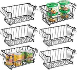 "mDesign Modern Farmhouse Metal Wire Household Stackable Storage Organizer Bin Basket with Handles, for Kitchen Cabinets, Pantry, Closets, Bathrooms - 12.5"" Wide, 6 Pack - Graphite Gray"