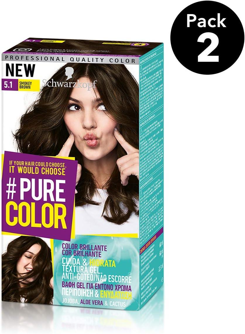 Pure Color de Schwarzkopf Tono 5.1 Smokey Brown - 2 uds - Coloración Permamente